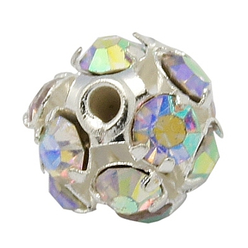 Brass Rhinestone Beads, Grade A, Round, Silver Color Plated, AB Color, Clear AB, Size: about 6mm in diameter, hole: 1mm(RB-H034-20)