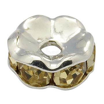 8mm Yellow Flat Round Brass+Rhinestone Spacer Beads