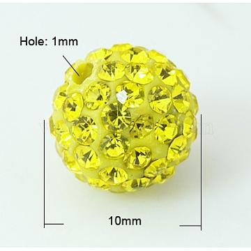 Pave Disco Ball Beads, Polymer Clay Rhinestone Beads, Grade A, Citrine, 10mm, Hole: 1mm(RB-Q195-10mm-249)