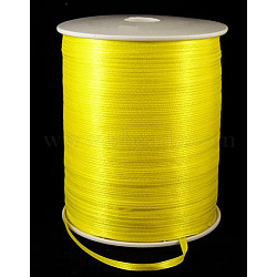 "Ruban de satin à face unique, Ruban de polyester, jaune, 1/8"" (3mm) de large; à propos de 880yards / roll (804.672m / roll)(RC3mmY015)"