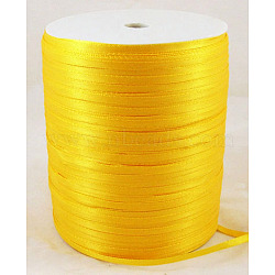 "Ruban de satin à face unique, Ruban de polyester, or, 1/8"" (3mm) de large; à propos de 880yards / roll (804.672m / roll)(RC3mmY016)"