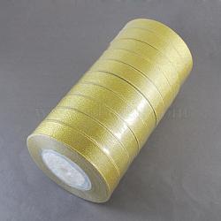"""Ruban métallique pailleté, Ruban scintillant, matériel de bricolage pour organza arc, Double Sided, dorée, Taille: environ 3/4"""" (20mm) de large, 25yards / roll (22.86m / roll), 10 rouleaux / groupe, 250yards / groupe (228.6m / groupe)(RS20mmY-G)"""