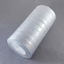 """Ruban métallique pailleté, Ruban scintillant, matériel de bricolage pour organza arc, Double Sided, argent métallique couleur, Taille: environ 3/4"""" (20mm) de large, 25yards / roll (22.86m / roll), 10 rouleaux / groupe, 250yards / groupe (228.6m / groupe)(RS20mmY-S)"""