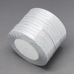 """Ruban métallique pailleté, Ruban scintillant, matériel de bricolage pour organza arc, Double Sided, couleur argentée, Taille: environ 1/4"""" (6mm) de large, 25yards / roll (22.86m / roll), 10 rouleaux / groupe, 250 yards / groupe (228.6m / groupe).(RS6mmY-S)"""
