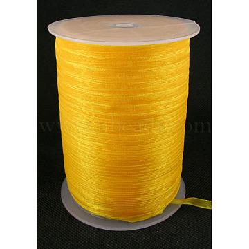 Organza Ribbon, Orange, 1/4 inch(6mm); 500yards/Roll(457.2m/Roll)(RS6mmY016)