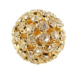 бисером горный хрусталь латунь, вокруг, никель свободный, золотой, о 26 mm в диаметре, отверстия: 4.5 mm(RSB082-NFG)
