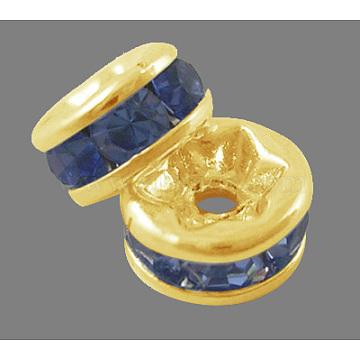 8mm SkyBlue Rondelle Brass + Rhinestone Spacer Beads