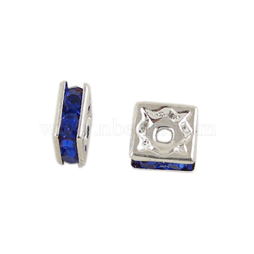 6mm Blue Square Brass + Rhinestone Spacer Beads