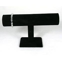 Bracelet t velours présentoir, bois et du carton, noir, 24x14.5cm; tube: 5x24cm(S009)