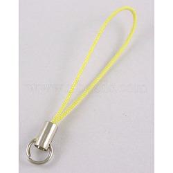 Ремешок для мобильного телефона, DIY Ремни сотовый телефон, латунь конец с железными кольцами, желтые, длиной около 45 мм , кольцо: около 7мм диаметром(SCW016)