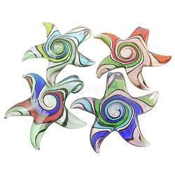 Pendentifs en verre de feuille d'argent, étoiles de mer, couleur mixte, environ 51~52 mm de large, Longueur 48mm, Trou: 7~8mm(SLSP024J)