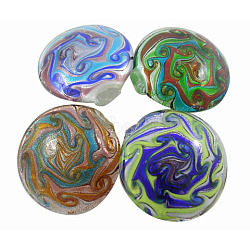 Handmade Silver Foil Glass Big Pendants, Flat Round, Mixed Color, about 53.5mm in diameter, hole: 8mm(SLSP097J)