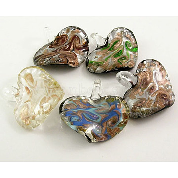 Handmade Silver Foil Glass Pendants, 925 Silver, with Gold Sand, Heart, Mixed Color, about 50mm wide, 45~48mm long, hole: 8mm(SLSP113Y)