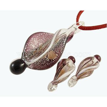 Серебряный / золотой песок фольга стеклянный кулон набор, lt.purple, Кулон: 27 mm, 64~67 мм длиной, Отверстие: около 7 мм(SLSP130Y-4)