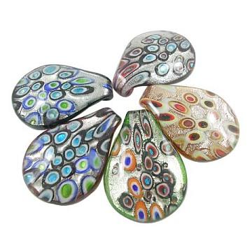 Handmade Silver Foil Glass Pendants, Leaf, Mixed Color, about 37mm wide, 51mm long, hole: 5~6mm(SLSP328J)