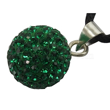 Austrian Crystal Charms, With Sterling Silver Clasps, Round, Emerald, about 18mm in diameter, hole: 3.5mm(SR18MM-205)