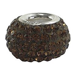 Perles européennes en cristal autrichien, Perles avec un grand trou   , seul cœur en argent 925, rondelle, 220 topaze _smoked, environ 11 mm de diamètre, épaisseur de 7.5mm, Trou: 4.5 mm(SS001-A220)