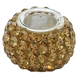 Perles européennes en cristal autrichien, Perles avec un grand trou   , seul cœur en argent 925, rondelle, 226 _lt.topaz, environ 14 mm de diamètre, épaisseur de 12mm, Trou: 4.5mm(SS003-A226)