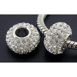 Perles en cristal de style européen, Perles avec un grand trou   , le noyau en argent 925, rondelle, 001 _crystal, environ 11 mm de diamètre, épaisseur de 7.5mm, Trou: 4.5mm(SS006-BD91524)