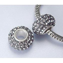 Perles en cristal de style européen, Perles avec un grand trou   , le noyau en argent 925, rondelle, 215 _ diamant noir , environ 11 mm de diamètre, épaisseur de 7.5mm, Trou: 4.5mm(SS006-BD91544)