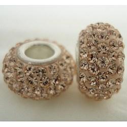 Perles en cristal de style européen, Perles avec un grand trou   , le noyau en argent 925, rondelle, 391 _silk, environ 11 mm de diamètre, épaisseur de 7.5mm, Trou: 4.5mm(SS006-BD91545)