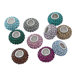 Perles en cristal de style européen, Perles avec un grand trou   , le noyau en argent 925, rondelle, couleur mixte, environ 11 mm de diamètre, épaisseur de 7.5mm, Trou: 4.5mm(SS006-M)