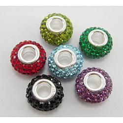 Perles en cristal de style européen, Perles avec un grand trou   , le noyau en argent 925, grade AAA, rondelle, couleur mixte, environ 11 mm de diamètre, épaisseur de 7.5mm, Trou: 4.5mm(SS021)