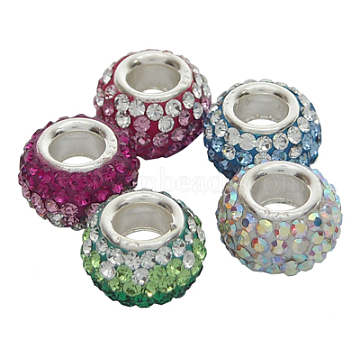 Austrian Crystal European Beads, Large Hole Beads, Single Sterling Silver Core, Rondelle, Mixed Color, about 7mm in diameter, 5.5mm thick, hole: 3mm(SS002)
