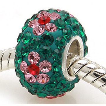 Austrian Crystal European Beads, Large Hole Beads, Sterling Silver Core, Rondelle, Colorful, about 11mm in diameter, 7.5mm thick, hole: 4.5mm(SS007-02)