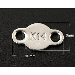 Onglets de chaîne en 304 acier inoxydable, connecteurs d'extension de chaîne, 10x6mm, Trou: 1.5mm(STAS-Q086)