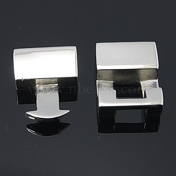 Smooth 304 Stainless Steel Snap Lock Clasps, 35x17x6mm, Hole: 14x4mm(STAS-Q162)