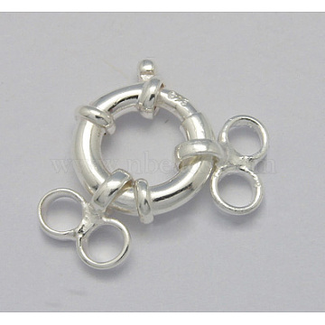 925 Sterling Silver Spring Rings Clasps, Silver, 13mm(STER-A007-17B)