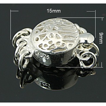 Silver Flat Round Sterling Silver Box Clasps