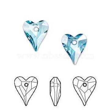 Austrian Crystal Pendants, 6240 Wild Heart Pendants, Mother's Day Jewelry Making, 202_Aquamarine, 12x10mm(SWAR-6240-12MM-202)