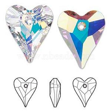 Austrian Crystal Pendants, 6240 Wild Heart, Mother's Day Jewelry Making, 101_Crystal+AB, 17x14mm(SWAR-6240-17MM-001AB)