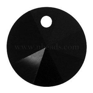 Austrian Crystal, 6428 Xilion Rivoli Pendant, 280_Jet, Size: about 6mm in diameter(SWAR-6428-6MM-280)