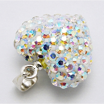 Austrian Crystal Charms, with Polymer Clay and 925 Sterling Silver Findings, Heart, 001_Crystal, 001AB_Crystal Aurore Boreale, about 13mm wide, 17mm long, 9mm thick, hole: 2mm(SWAR-H014-101)