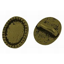 Style tibétain breloques à glisser ovale cabochon suports de lunette, bronze antique, sans plomb et sans cadmium et sans nickel; 10x8.5x4 mm, Trou: 5x2mm(TIBEP-A12159-AB-FF)