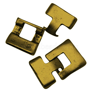 Tibetan Style Alloy Snap Lock Clasps, Lead Free, Rectangle, Antique Golden, 23x21x5mm, Hole: 19x3mm(TIBEB-A101306-AG-LF)