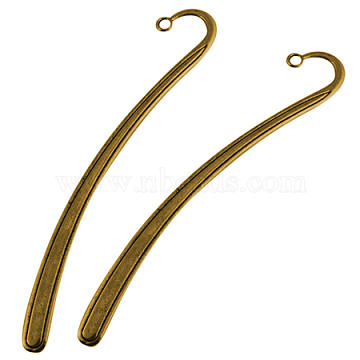 Tibetan Style Bookmarks, Lead Free and Cadmium Free and Nickel Free, Antique Golden,125x7x2mm, Hole: 3mm(TIBEP-PP007-AG-FF)