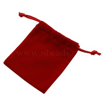 Velvet Cellphone Bags, Rectangle, Red, 9x7cm(TP009-4)