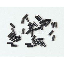Glass Bugle Beads, Seed Beads, Black, about 4.5mm long, 1.8mm in diameter, hole: 0.6mm, about 15000pcs/bag. Sold per package of one pound(TSDB4.5MM49)