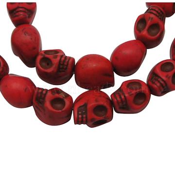 12mm Red Skull Howlite Beads