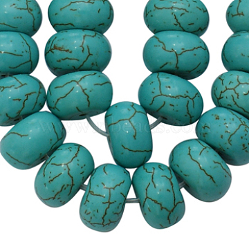 12mm Turquoise Abacus Howlite Beads