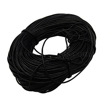 100M Cowhide Leather Cord, Leather Jewelry Cord, Black, 4mm(WL-A003-18)