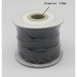 Korean Wax Polyester Cord, Black, 1mm; about 100yards/roll(300 feet/roll)(YC-N001-101)