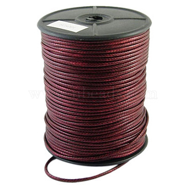 Korean Waxed Polyester Cord, Dark Red, 2~3mm, about 93yards/roll(YC2.5mmY-10)