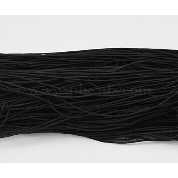 Round Elastic Cord, Made of Rubber, Wraped by Fibre, Black, 1mm, about 25.15~27.34 yards(23~25m)/bundle(YRB1MM-8)