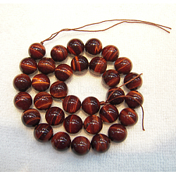 Natural Gemstone Beads, Tiger Eye, Dyed & Heated, Grade A, Red, about 6mm in diameter, hole: about 1mm, 65pcs/strand