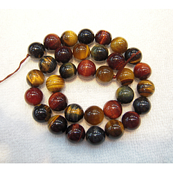 Gemstone Beads, Colorful Tiger Eye, Grade A, Round, Colorful, 6mm, Hole: 1mm; 65pcs/strand